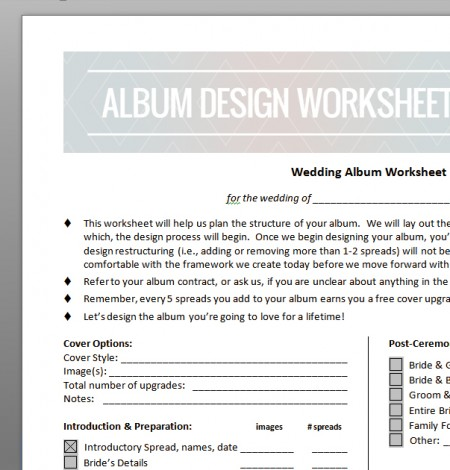 how to design a wedding album