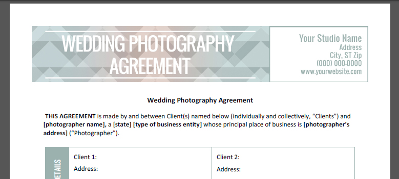 Wedding Contract Wedding Photography Contract Wedding Photography
