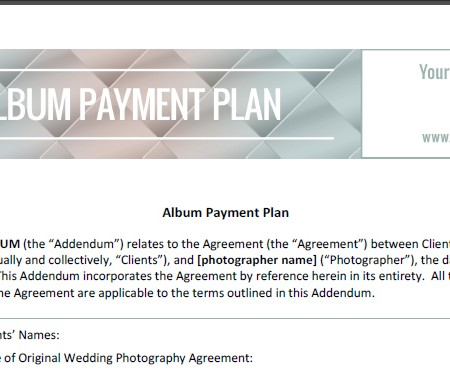 Album Payment Plan Contract - The Shoot Space