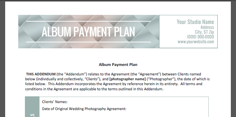 Album Payment Plan Contract  The Shoot Space