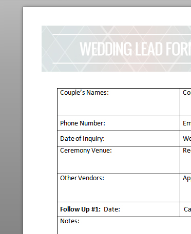 Wedding Lead Form image